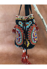 Gulnora Suzani Opera Bag Black Crimson