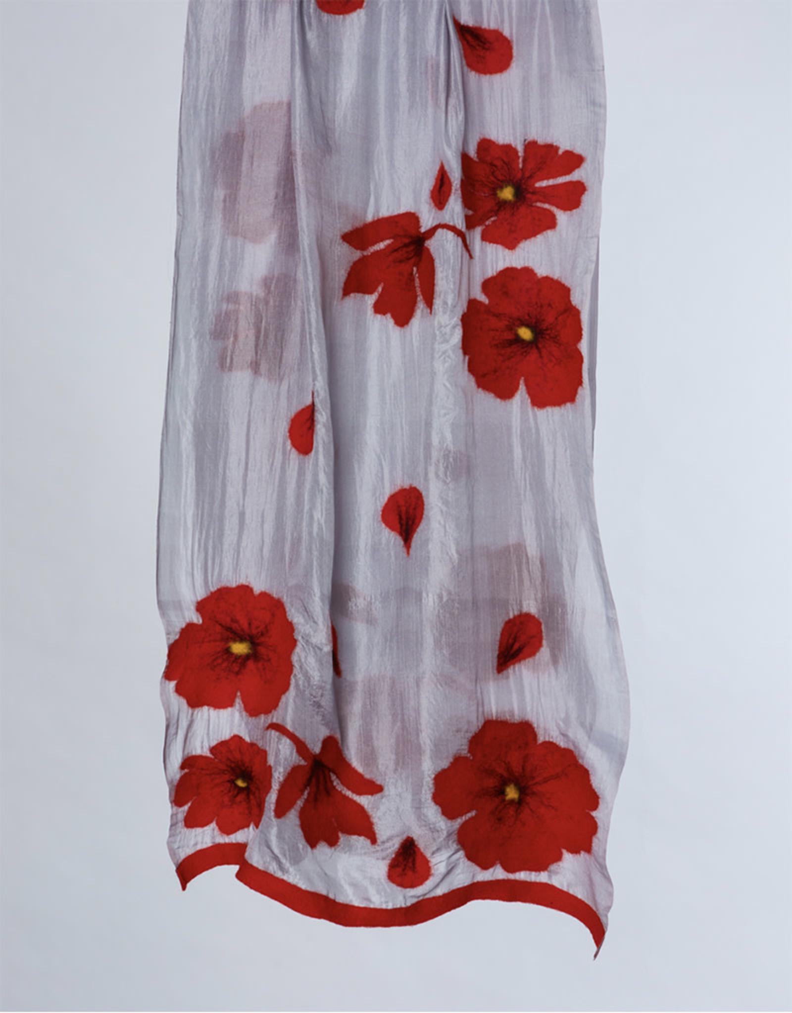 Poppy Scarf Silver Crimson