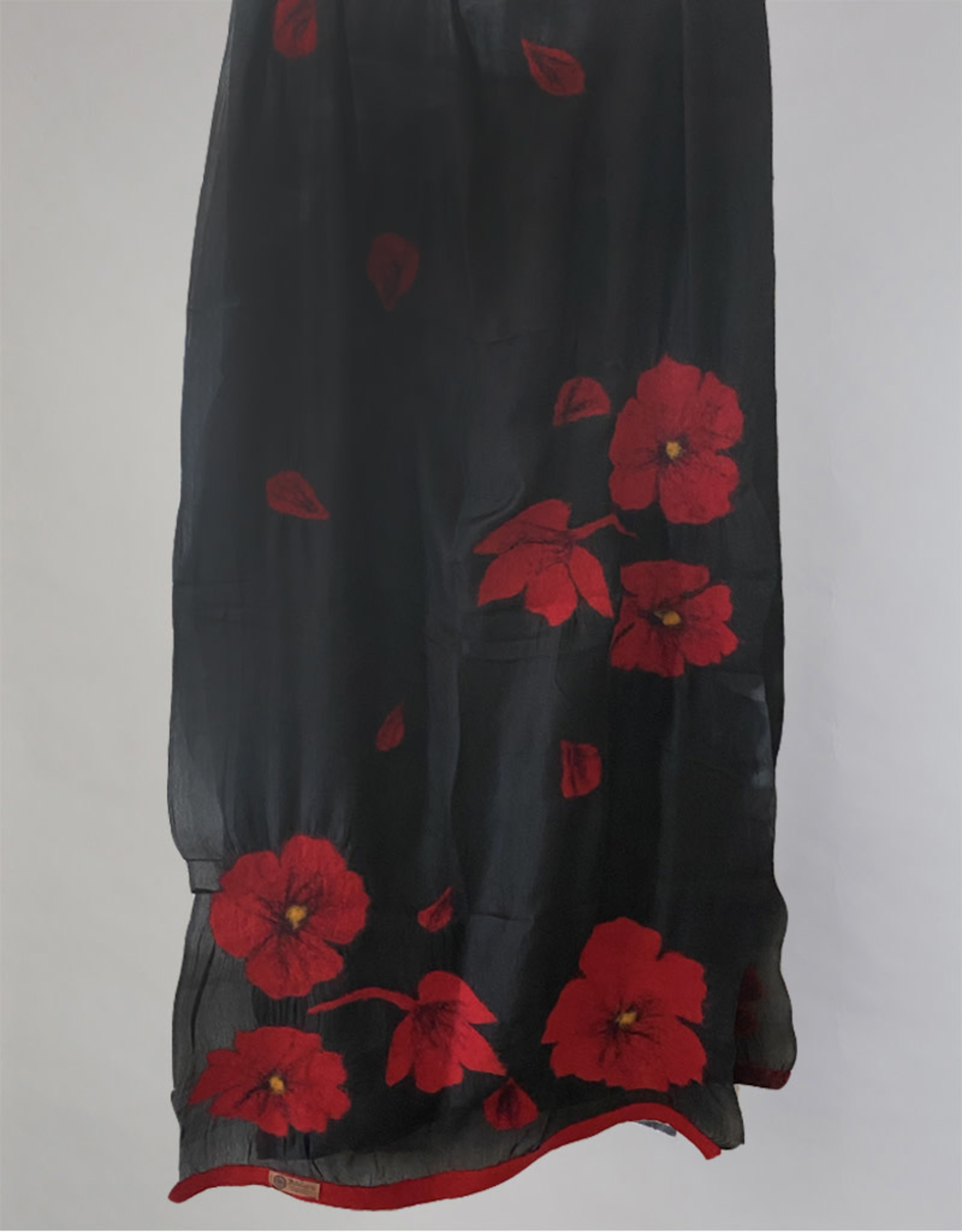 Poppy Scarf Black Crimson