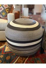 Woven Ottoman Black and White Stripe