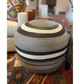 Finatur Woven Ottoman Black and White Stripe