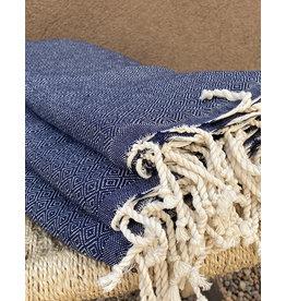 Comptoir Diamond Tassel Towel Indigo