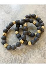 """Cedi Black Bracelet with Brass Beads, 1/2"""""""