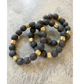 Cedi Black Bracelet with Brass Beads, 1/2""