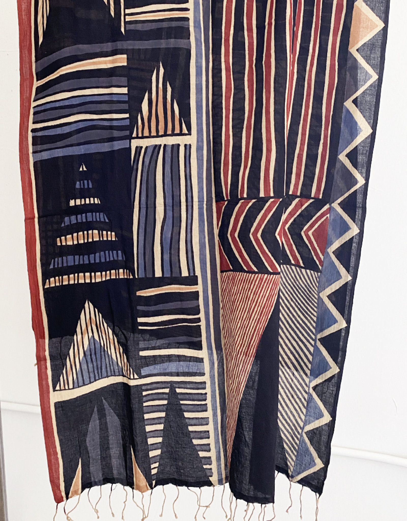 Haridra Hand Painted Cotton Scarf Abstract 2