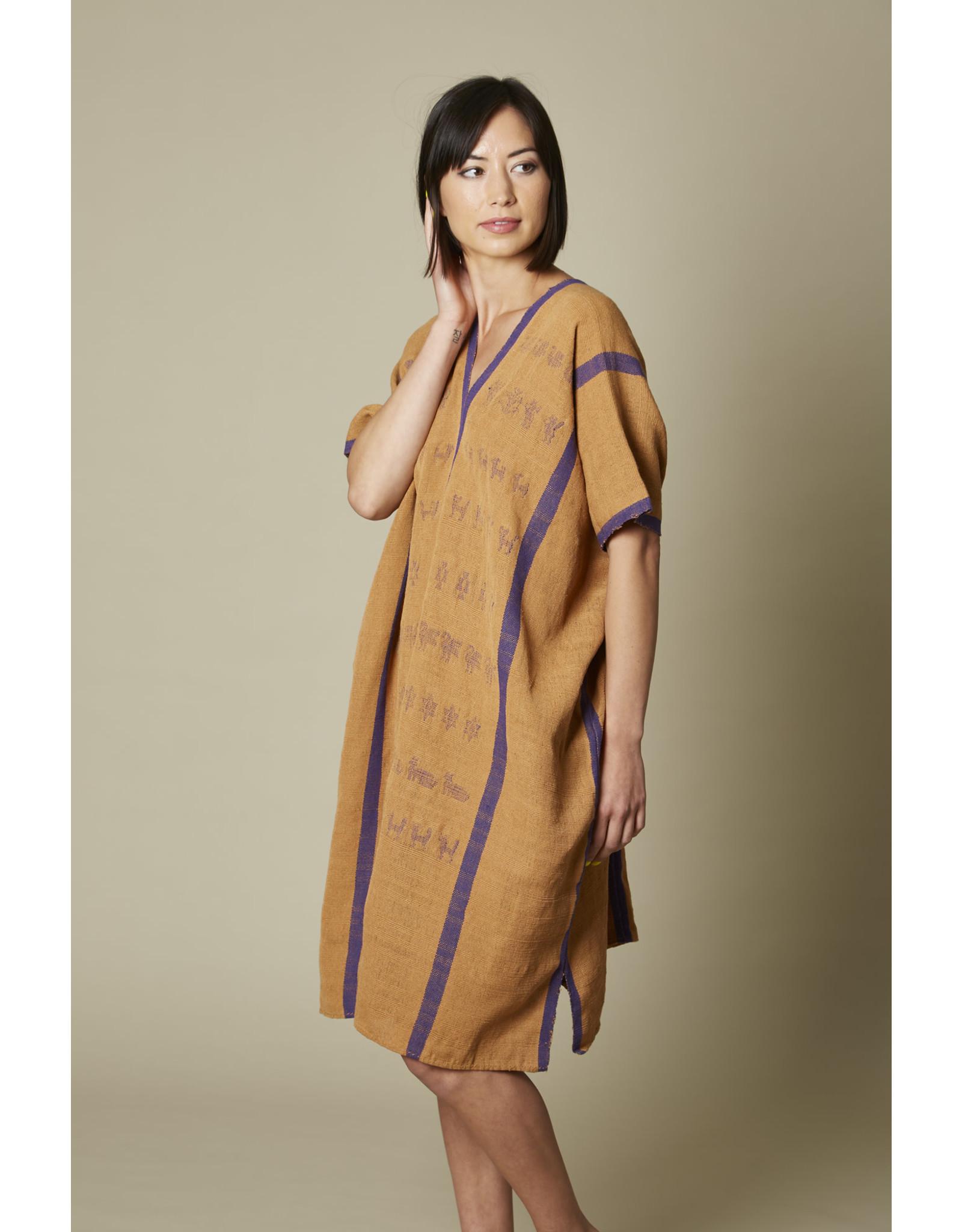 Natural Cotton Huipil Purple Stripe