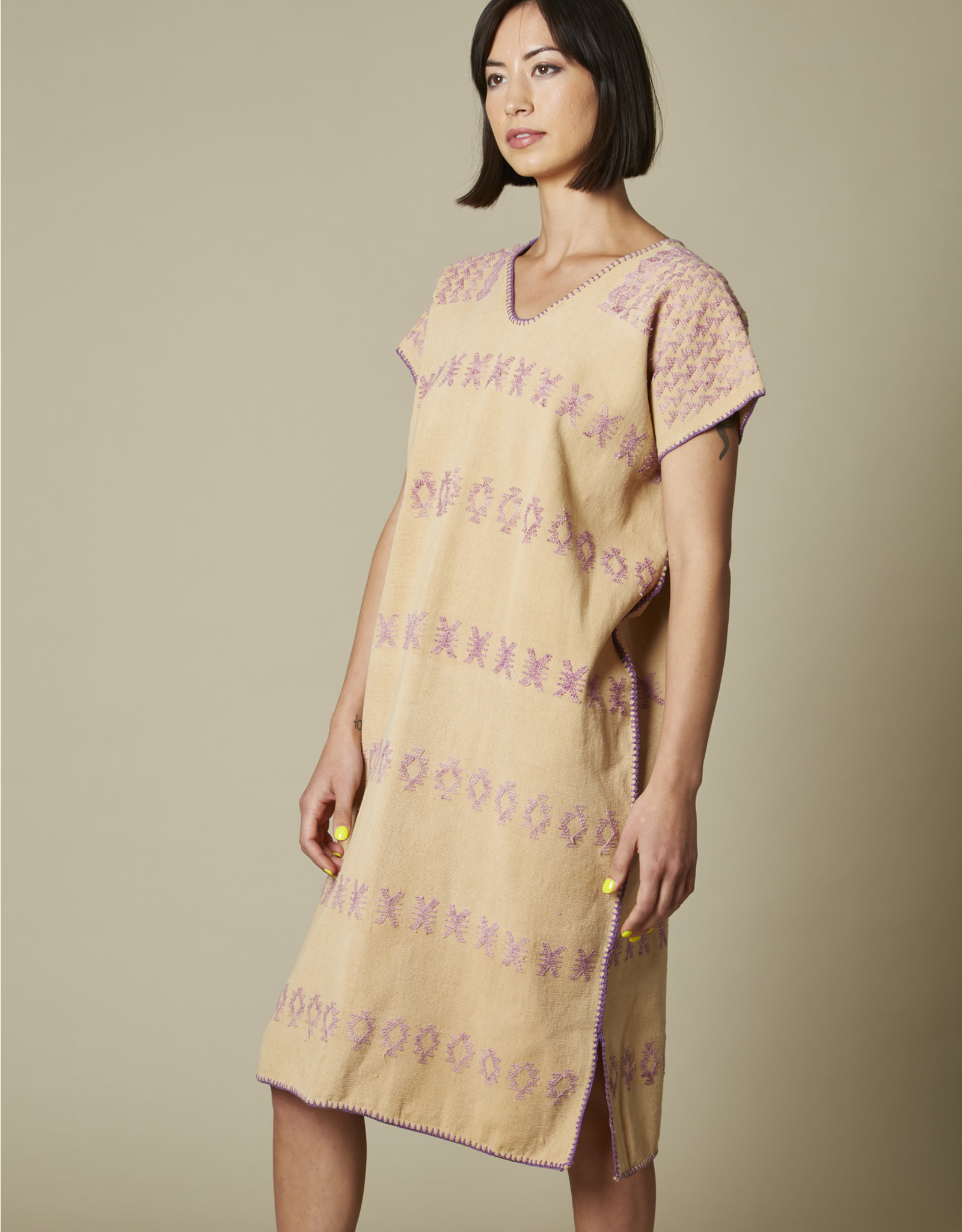 Natural Cotton Huipil with Caracol Embroidery