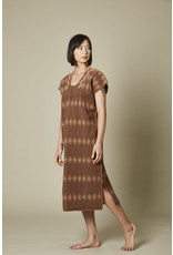 Brown Cotton Huipil with Caracol Embroidery