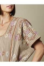 Striped Natural Cotton Huipil with Caracol Embroidery
