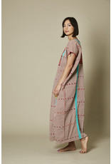 Striped Cotton Embroidered Huipil Turquoise