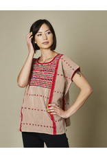 Striped Embroidered Blusa Red