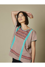 Striped Embroidered Blusa Turquoise