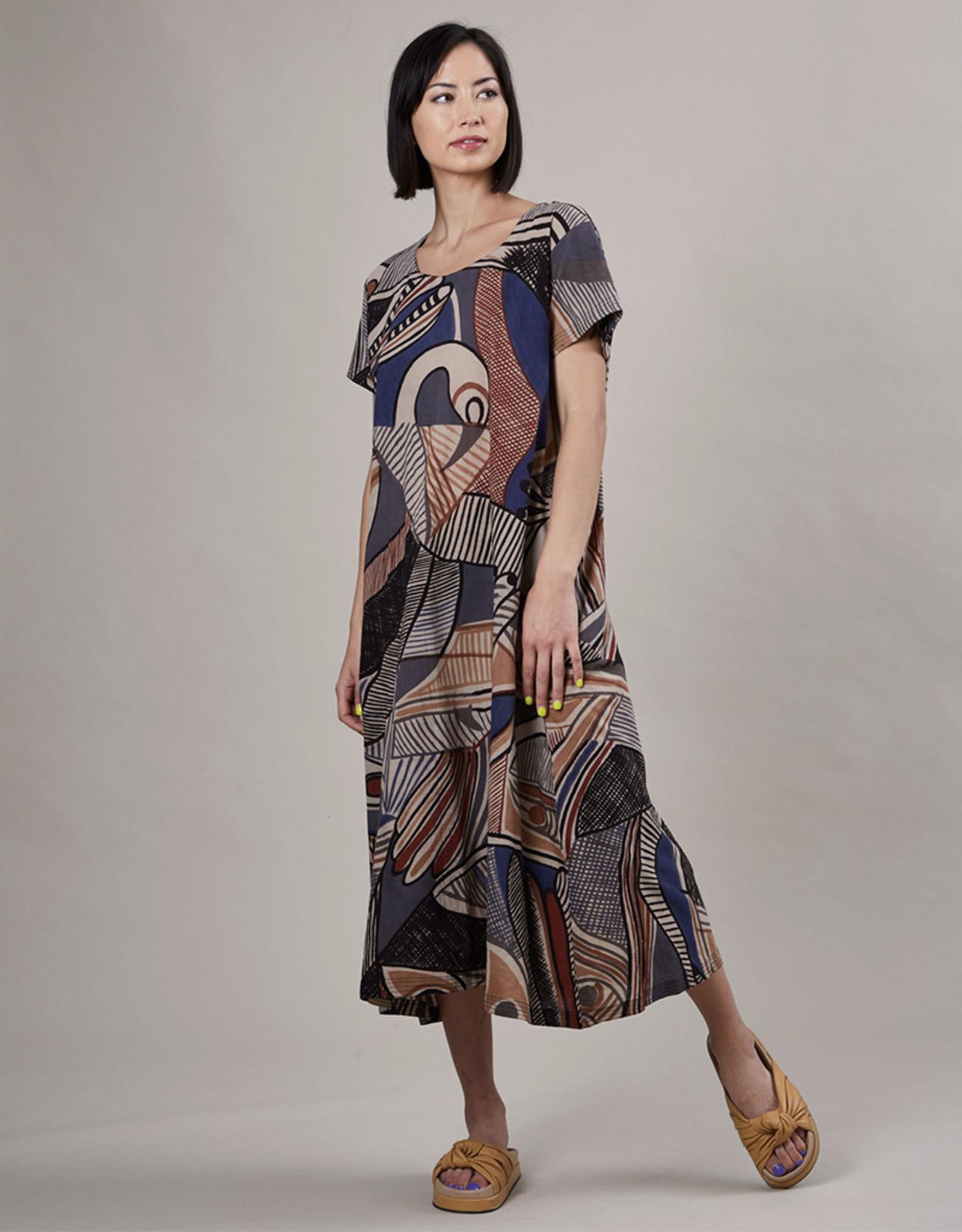 Haridra Hand Painted Dress Abstract 1