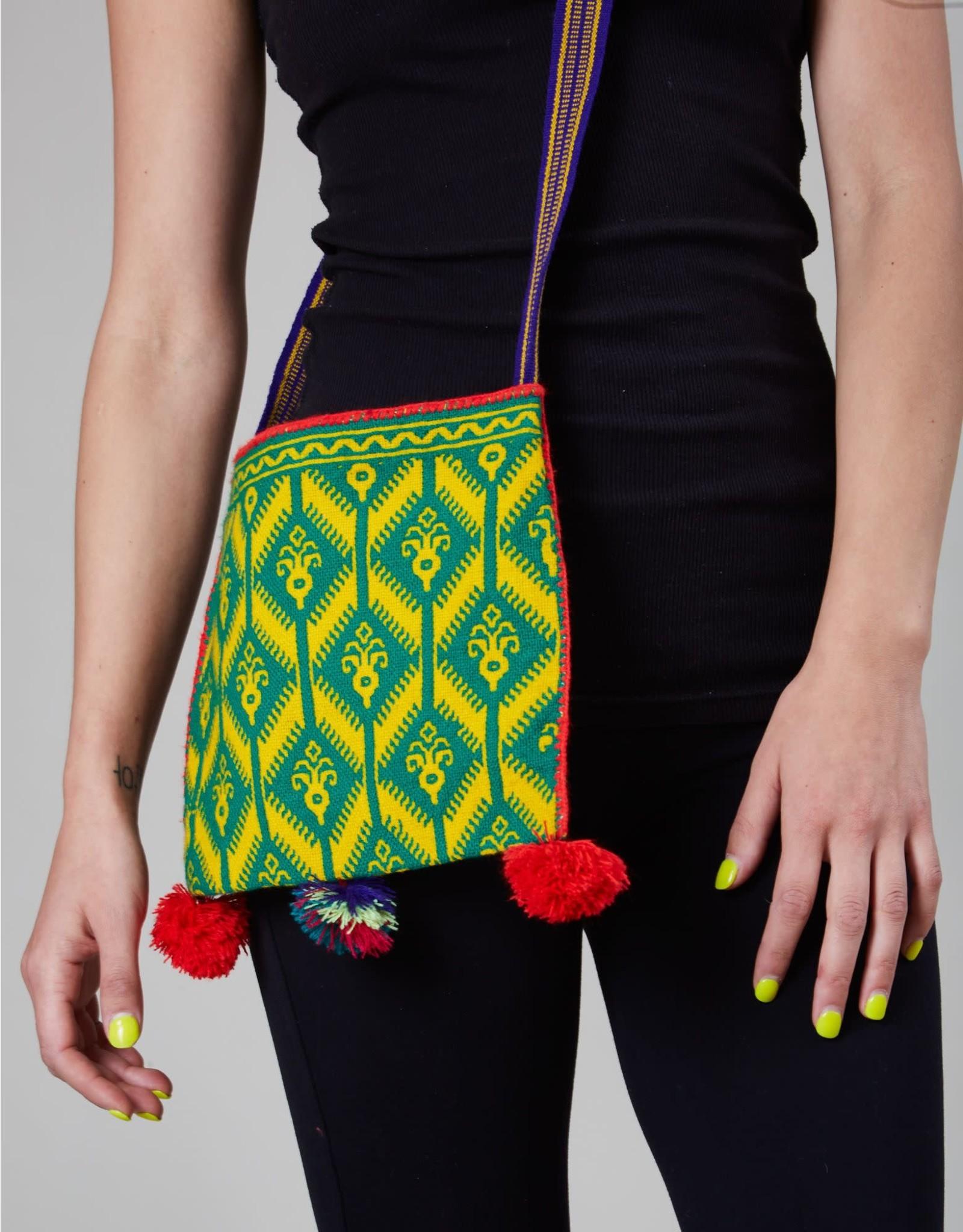 Huichol Woven Bag Green