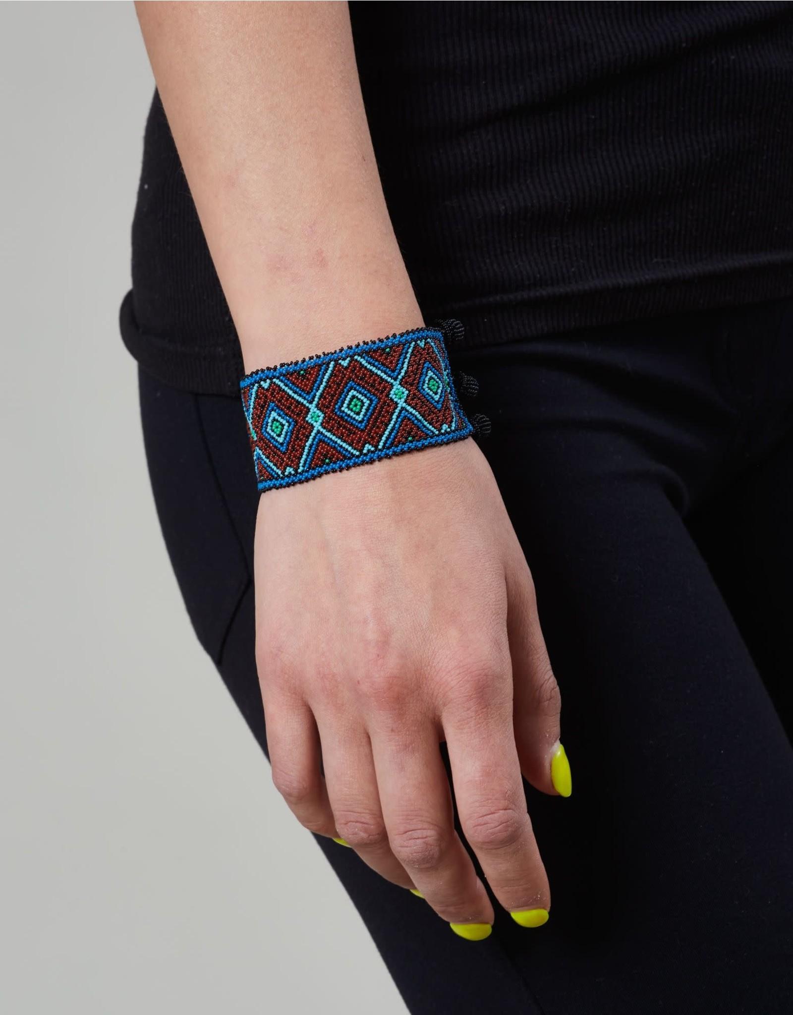 Huichol Beaded Bracelet Blue Brown