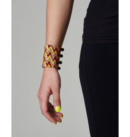 Huichol Beaded Bracelet Black Orange Yellow