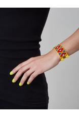 Huichol Beaded Bracelet Yellow Red