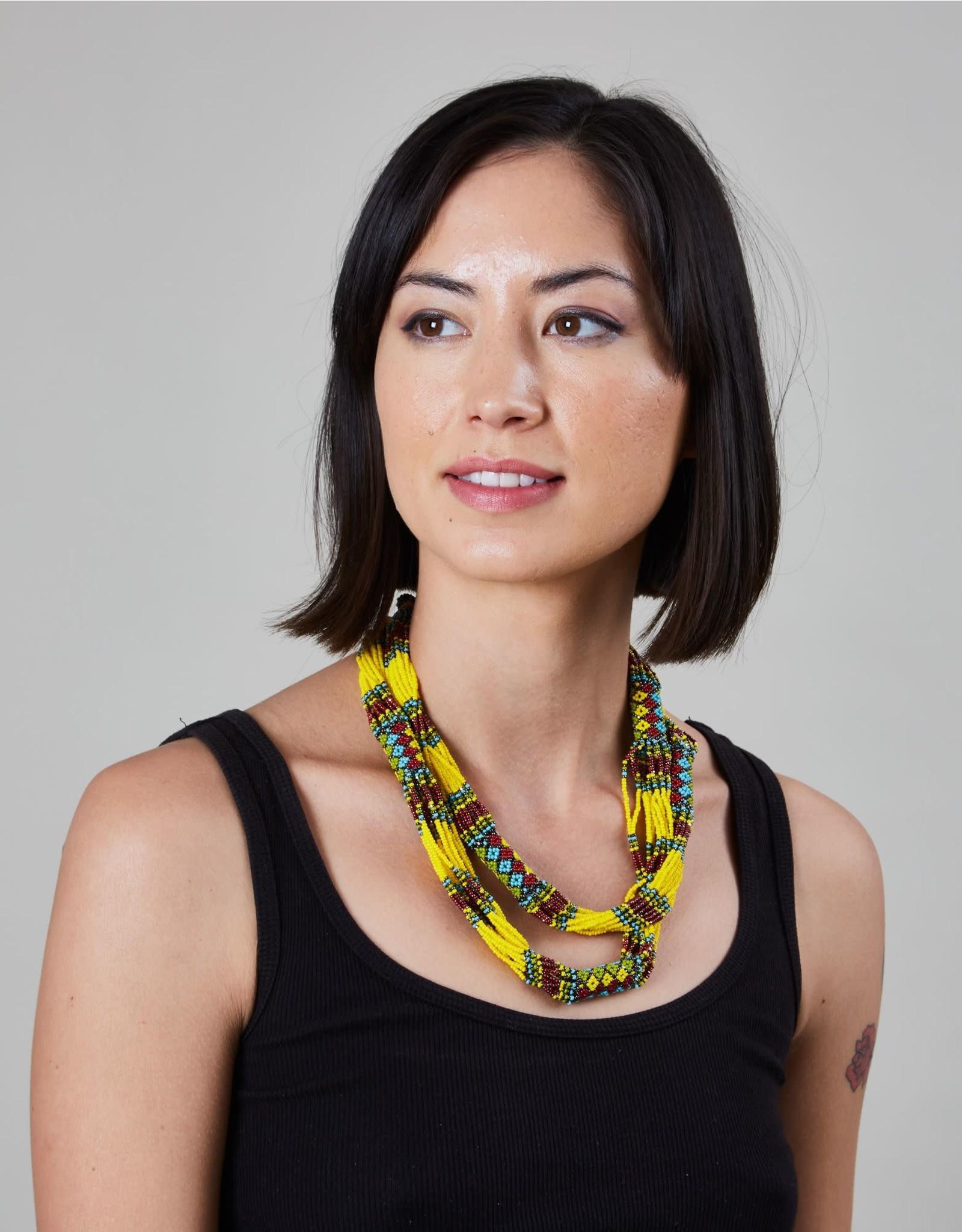 Huichol Beaded Necklace Yellow