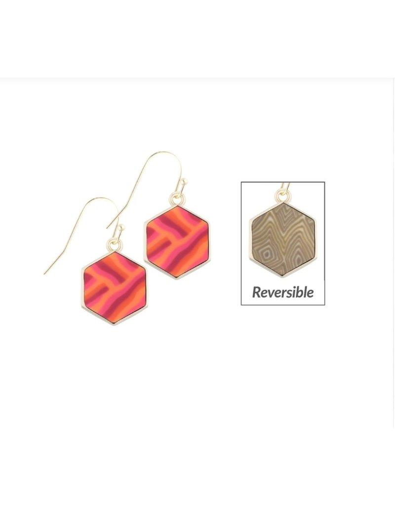 Jilzarah Reversible Hexagon Earrings