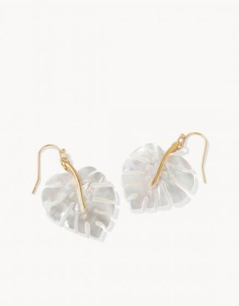 Spartina 449 Monstera Earrings - Pearlescent