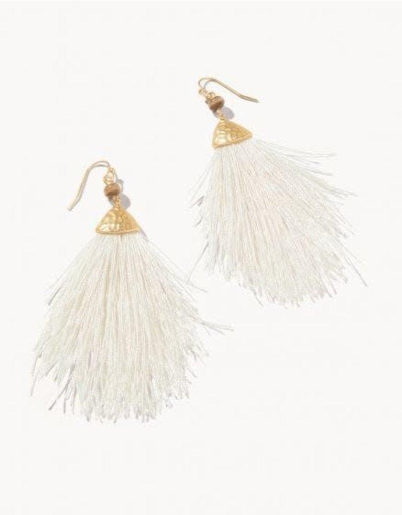 Spartina Mariana Fringe Earrings - Soft White