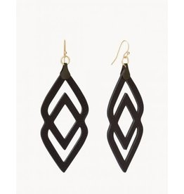 Spartina 449 Black Deco Drama Leather Earrings