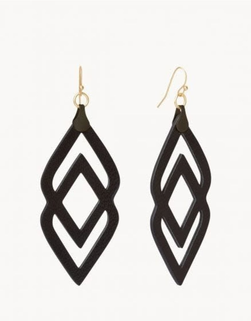 Spartina Black Deco Drama Leather Earrings