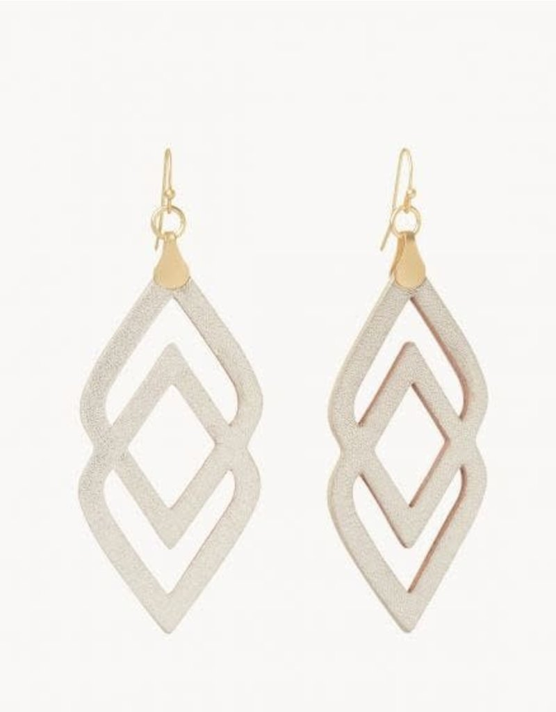 Spartina Gold Deco Drama Leather Earrings