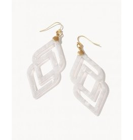 Spartina Deco Drama Earrings - White Shimmer