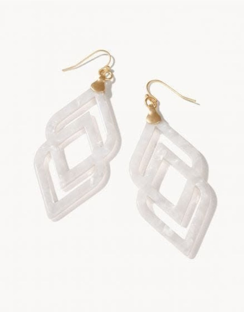 Spartina Deco Drama Earrings - White Shimmer