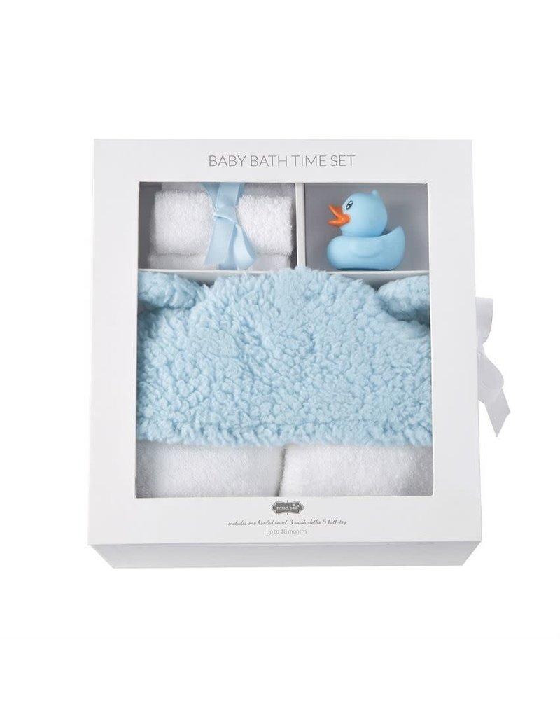 Mud Pie Blue Baby Bath Time Gift Set