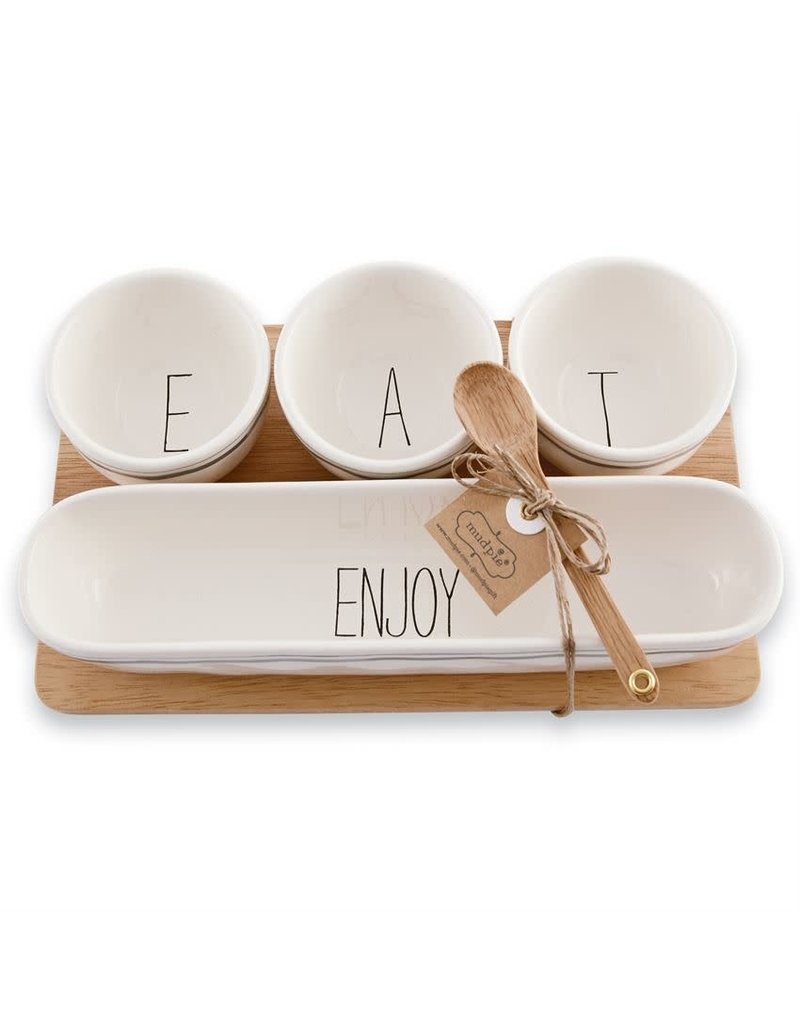 Mud Pie Dip Bowls with Wood Tray Set