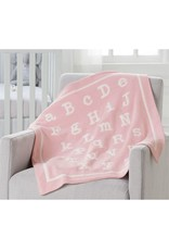 Mud Pie Pink ABC Chenille Blanket