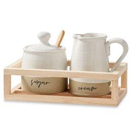 Mud Pie Stoneware Cream & Sugar Crate Set