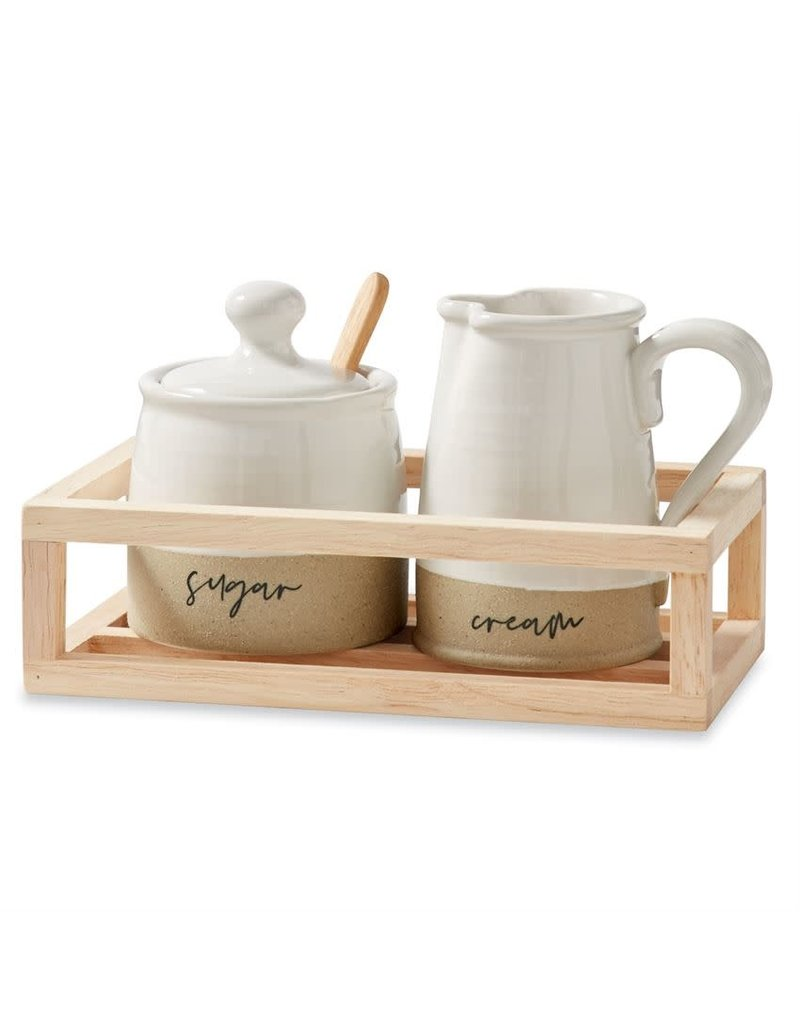 Mud Pie Stoneware Cream & Sugar Crate Set