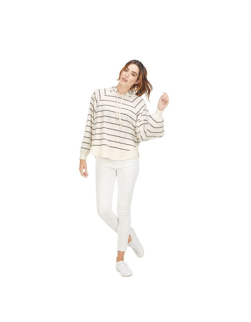 Mud Pie Greer Striped Hoodie - Cream