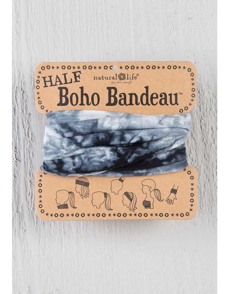 Natural Life Half Boho Bandeau - White Black Tie Dye