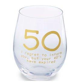 Mud Pie '50' Wine Glass