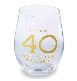Mud Pie '40' Wine Glass