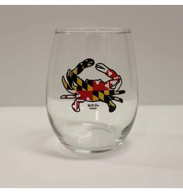 Route One Apparel maryland flag crab wine glass