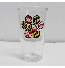Route One Apparel MD Flag Paw Print Pint Glass