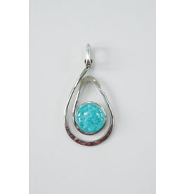The Artist Jay Funky Fusion Fused Glass Light Cyan Open Teardrop Pendant