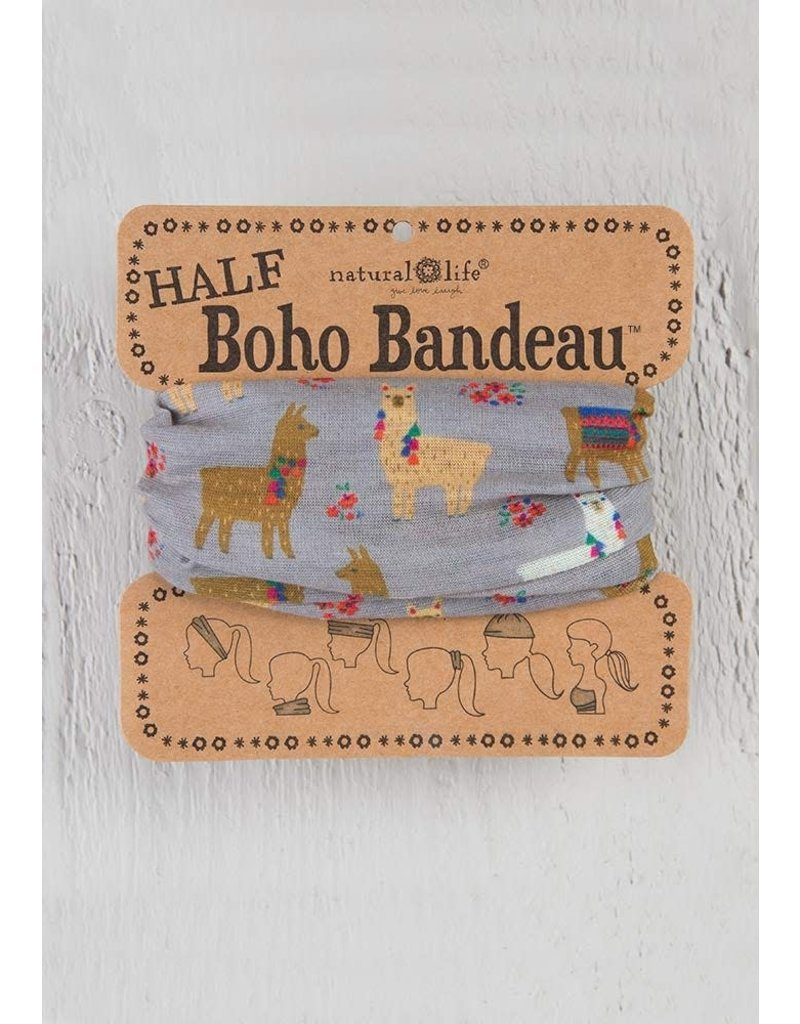Natural Life Half Boho Bandeau - Charcoal Llama