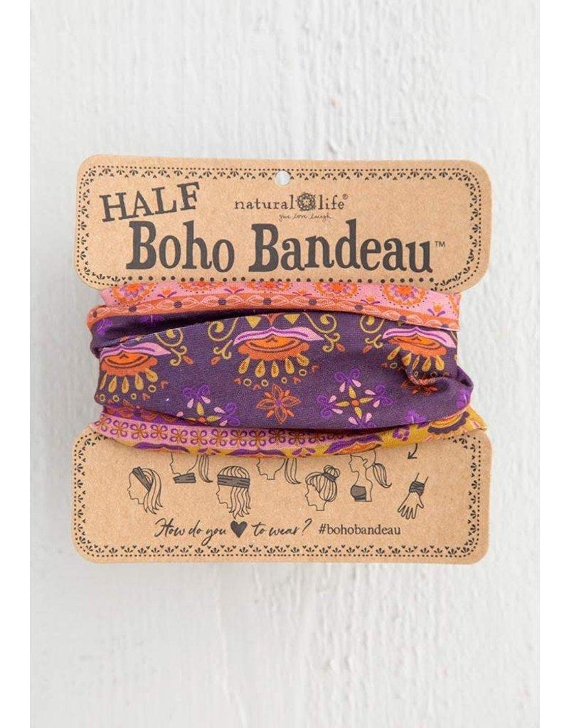 Natural Life Half Boho Bandeau - Purple Border Print
