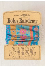 Natural Life Boho Bandeau - Aqua Floral Stripes