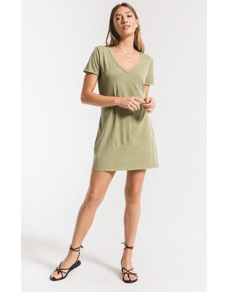 Z Supply Light Sage Organic Cotton T-Shirt Dress