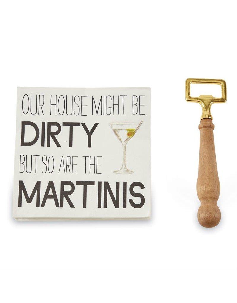 Mud Pie Martini Bottle Opener & Napkin Set