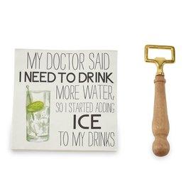 Mud Pie My Doctor Said Bottle Opener & Napkin Set