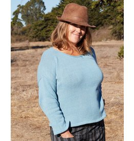 Zig Zag Asian Collection Blue Cotton Knit Long Sleeve Top