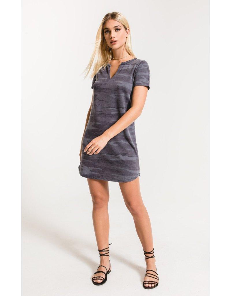 Z Supply Camo Split Neck Dress - Dark Blue